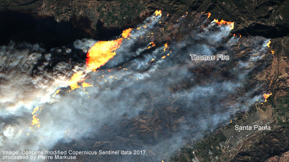 Thomas fire, California, satellite image