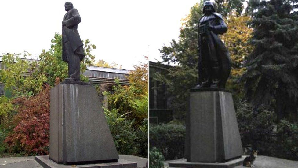 A composite image showing the new Darth Vader statue on the right and the old Lenin statue on the left