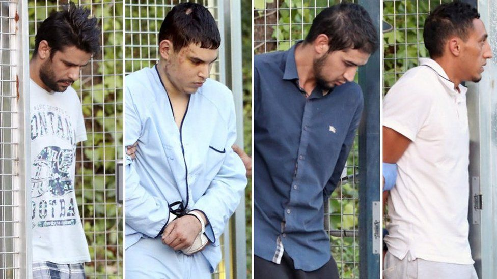 Barcelona attack suspects (left to right) Mohammed Aallaa, Mohamed Houli Chemlal, Sahal al-Karib and Driss Oukabir arrive in court in Madrid on Tuesday 22 August 2017