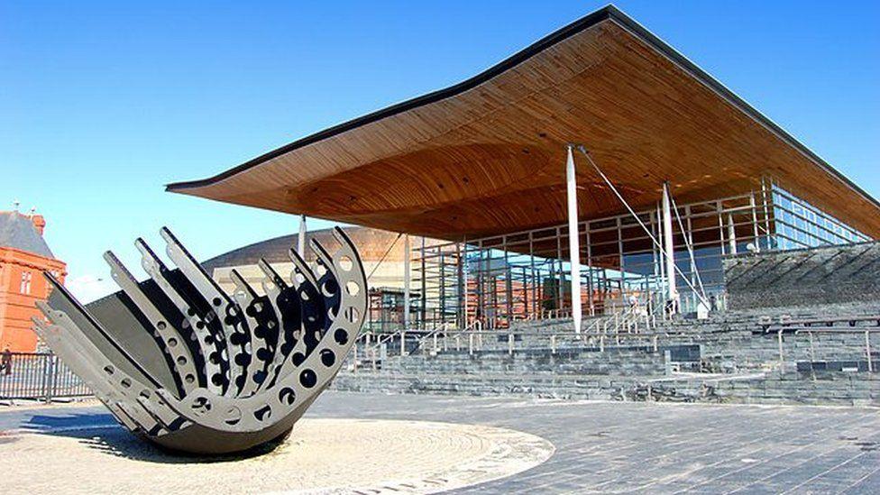 Senedd building in Cardiff Bay