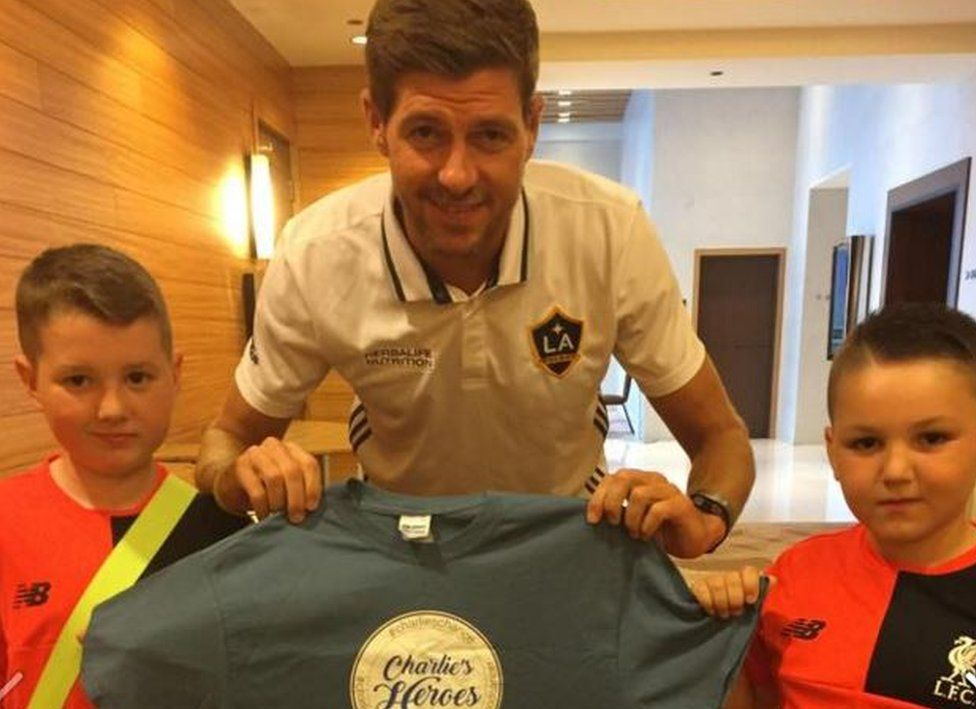 Steven Gerrard with Charlie and brother Harrison