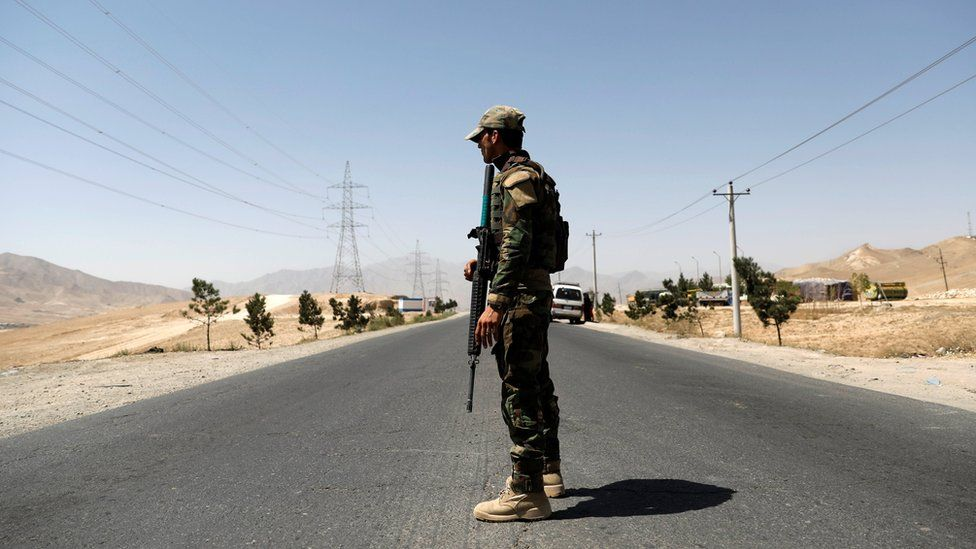 An Afghan National Army (ANA) soldier keeps watch at a checkpoint on the Ghazni highway, in Maidan Shar, the capital of Wardak province, Afghanistan August 12, 2018