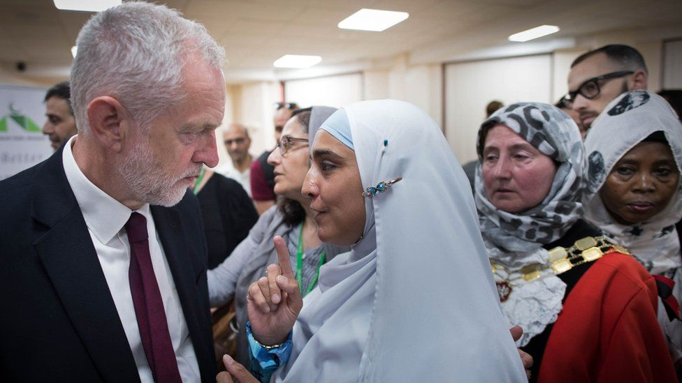 British opposition Labour leader Jeremy Corbyn meets locals at Finsbury Park Mosque in north London