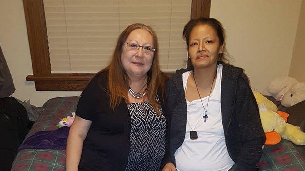 Barbara Kentner (right) with her cousin Debbie Kakagamic
