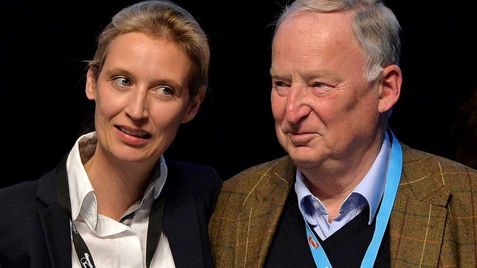 Alice Weidel (L) and Alexander Gauland (R) on stage at an AfD conference after their appointment as election campaign leaders