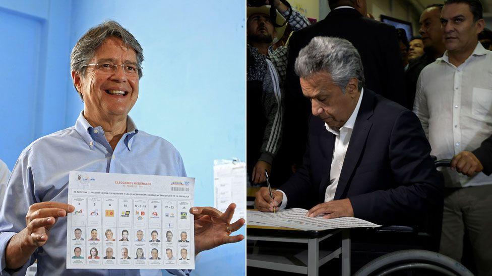 Guillermo Lasso (L) and Lenin Moreno (R) casting their votes