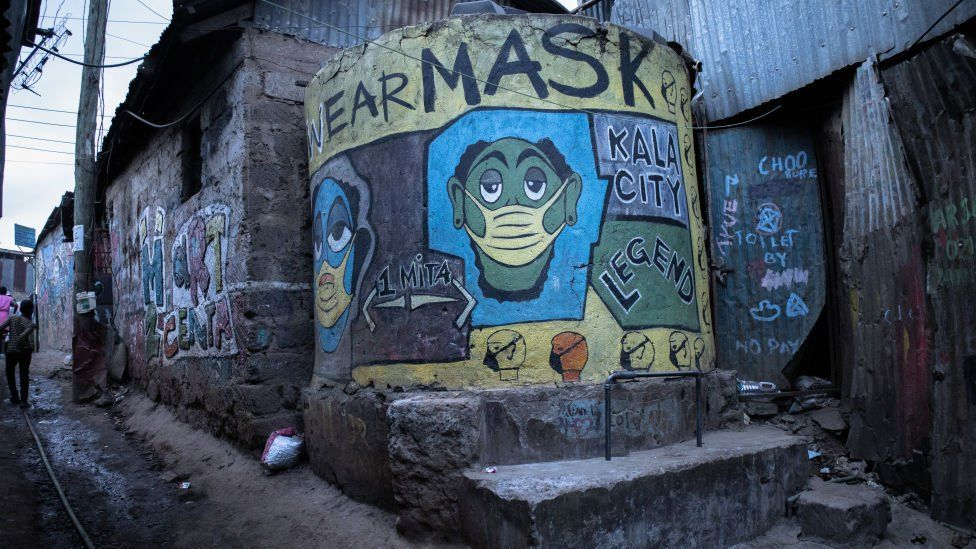 A mural depicting Corona Virus on the streets in Kibera