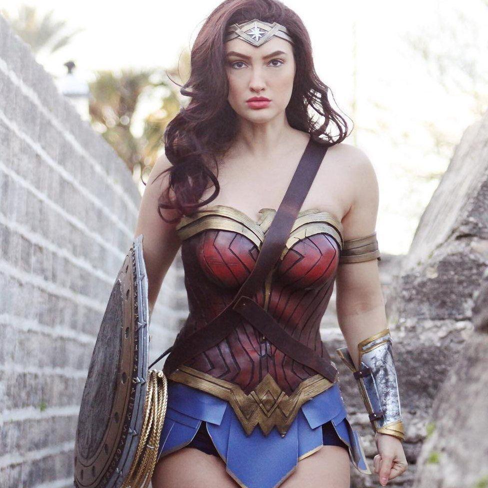 Anna Faith dressed as Wonder Woman