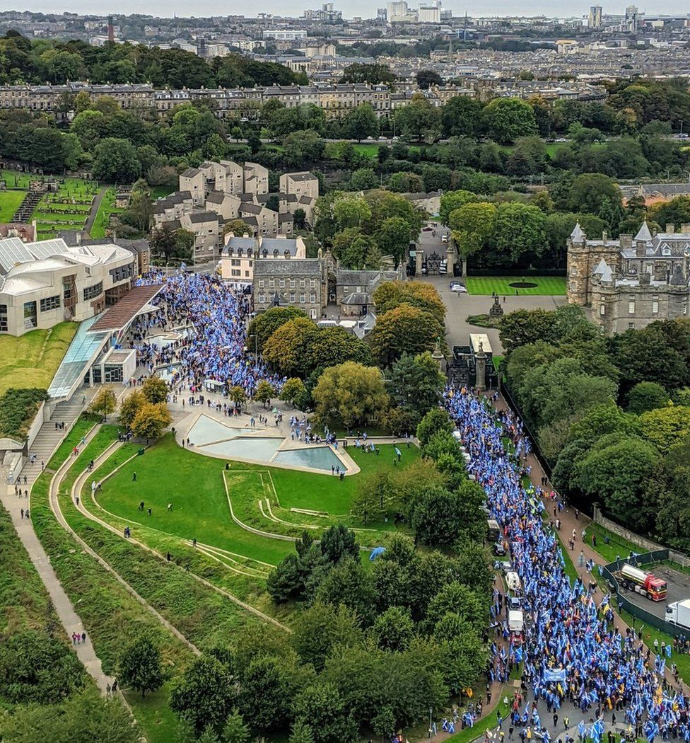 The marchers are walking from Holyrood Park to a rally in The Meadows