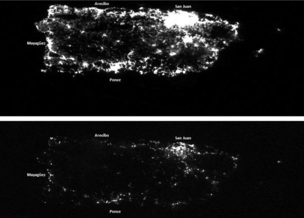Satellite images show night in Puerto Rico