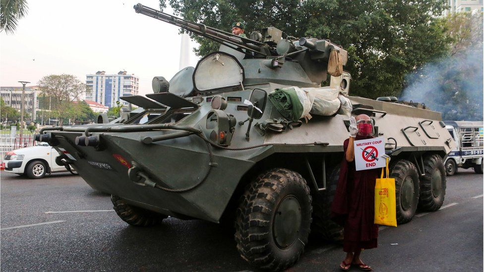Tanks on the streets on Yangon, 14 Februrary