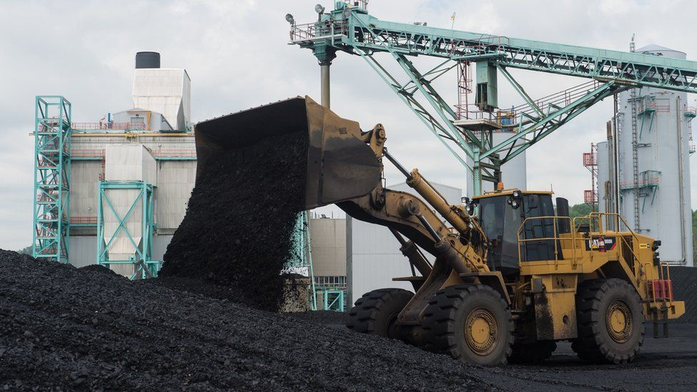 Coal being readied for use in a coal-powered power station