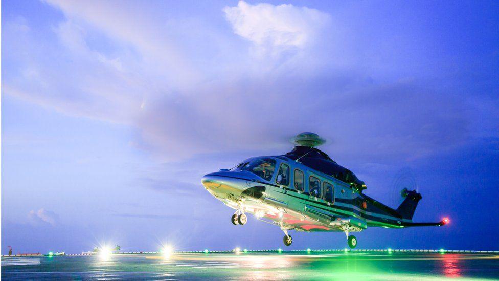 Helicopter on platform