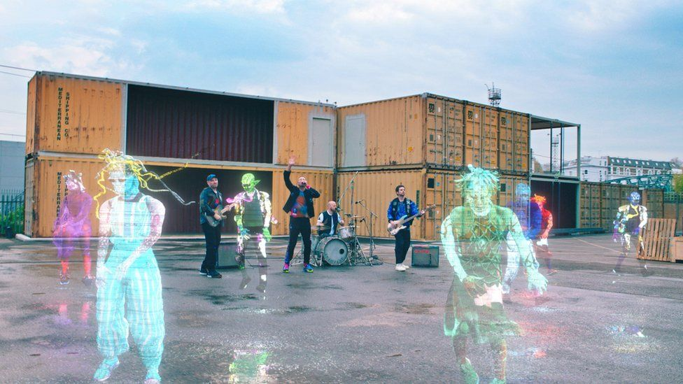 Promotional still from Coldplay's music video for Higher Power