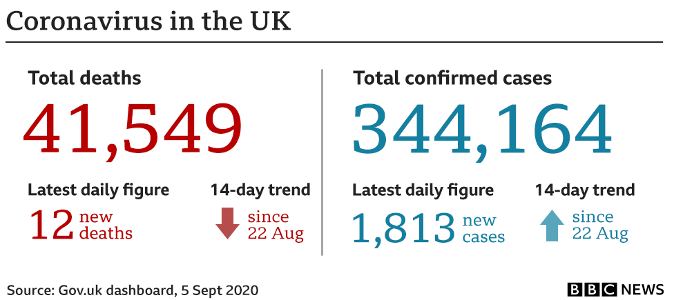 Graphic showing UK deaths and cases