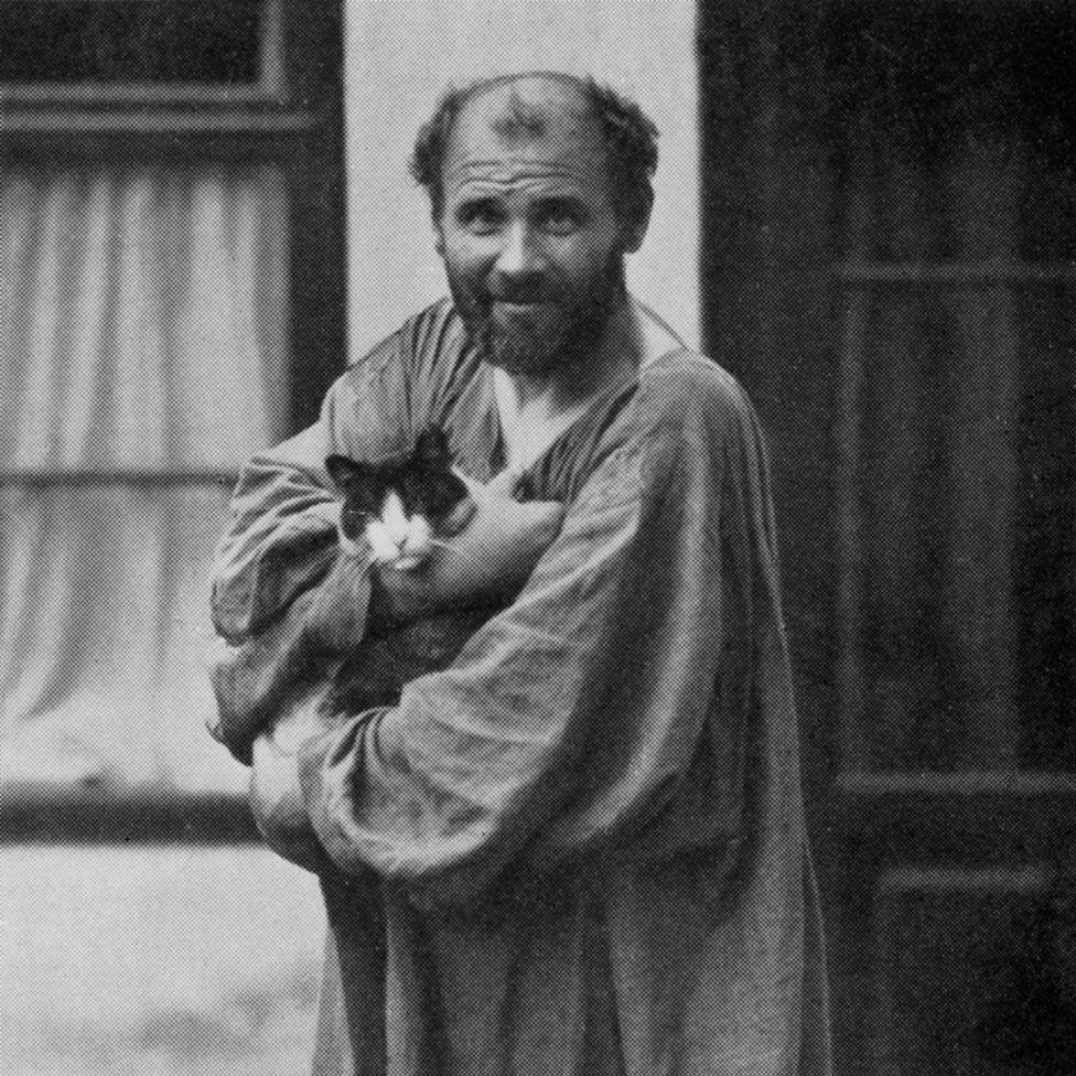 Gustav Klimt, with cat