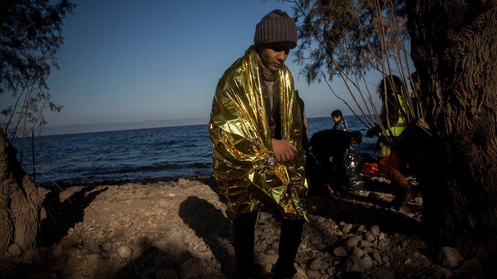 Boy in thermal blanket, Lesbos (26 December)