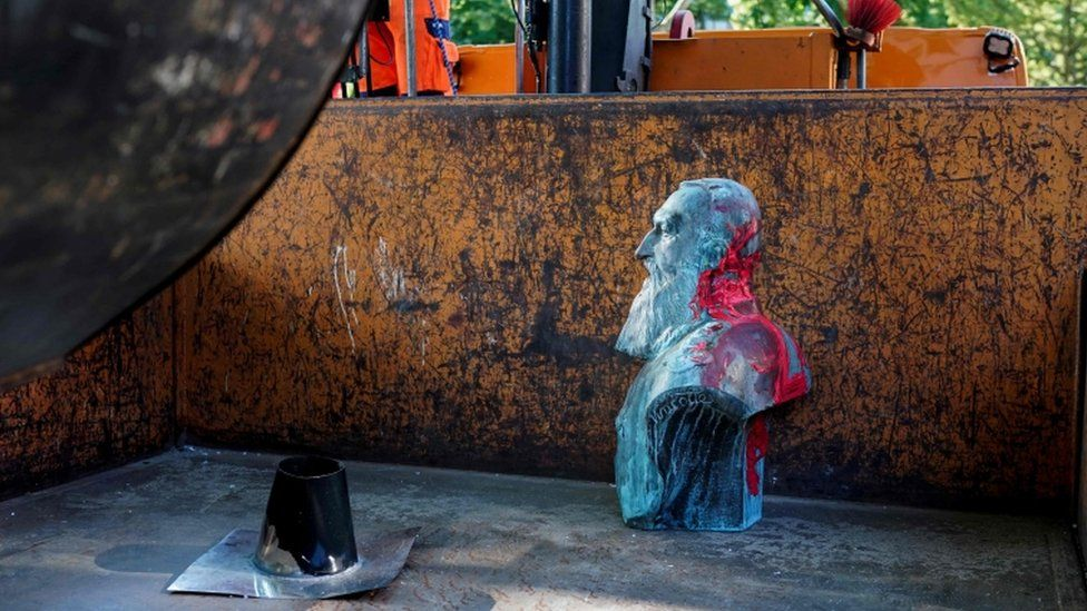 This bust of Leopold II was removed on Friday in Auderghem, near Brussels