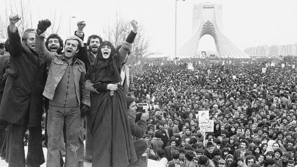Iranian revolution and the Azadi Tower, 1979
