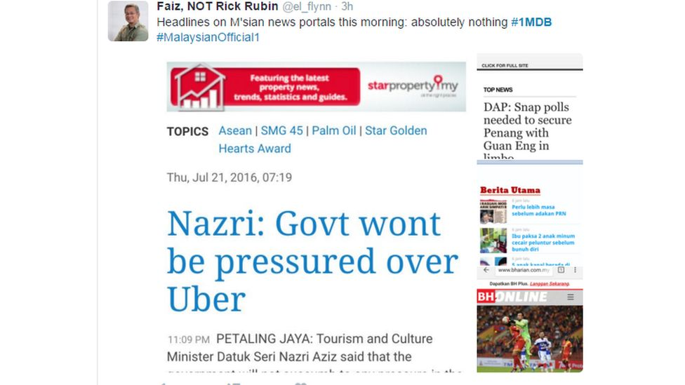 """""""Headlines on M'sian news portals this morning, absolutely nothing"""""""
