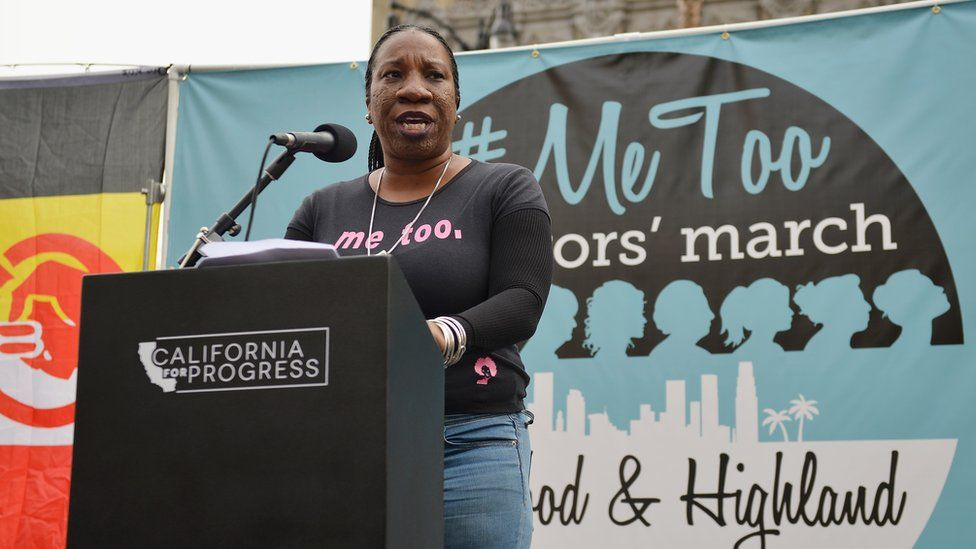 Tarana Burke on stage at a march