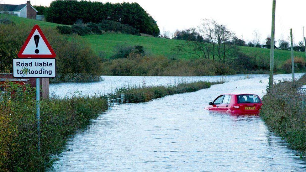 One of the vehicles caught up in the Carnreagh Road flood