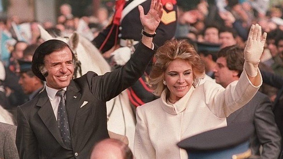 Carlos Menem and his wife, Zulema