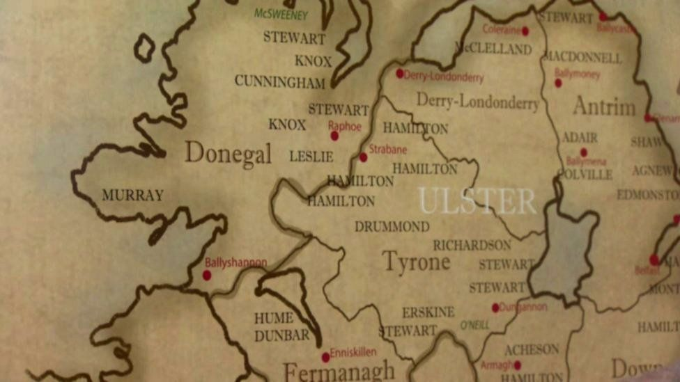 A map showing the Irish border