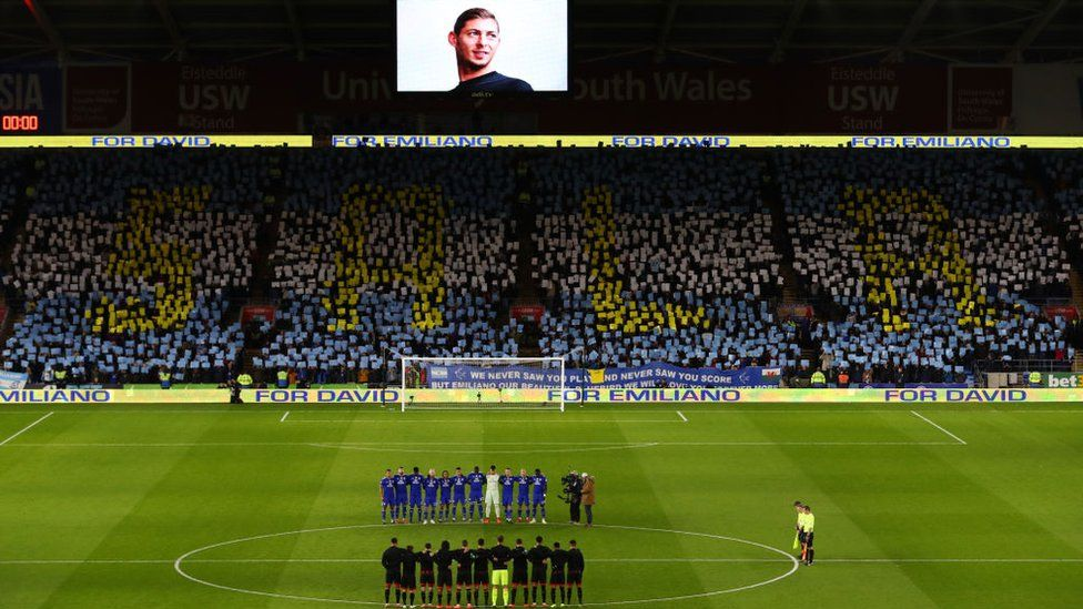 Footballers and fans pay tribute to Emiliano Sala at Cardiff City Stadium