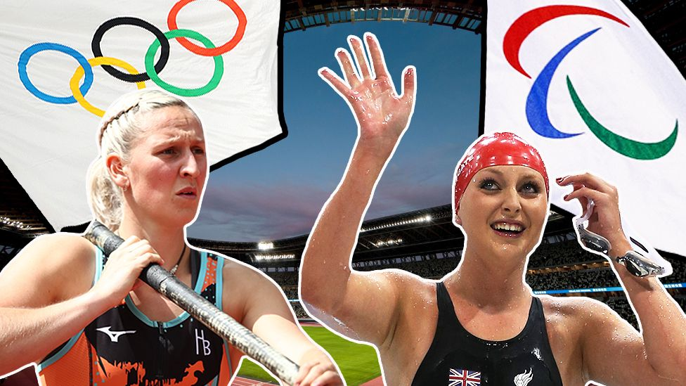 Composite with Holly Bradshaw, Jessica-Jane Applegate, the Olympic and Paralympic flag