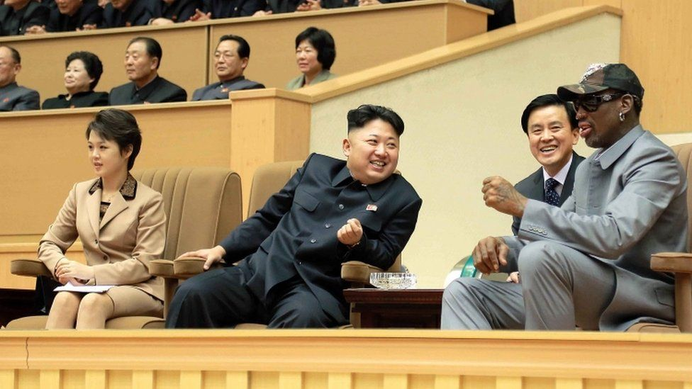 Kim Jong-un and his wife pictured with US basketball player Dennis Rodman in a Pyongyang Gymnasium in 2014