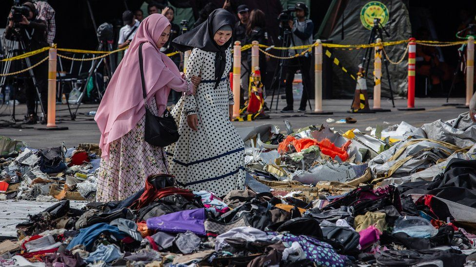 Families of the victims of Lion Air flight JT-610, visit an operations centre to look for personal items of their relatives