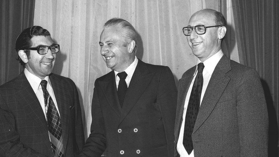 Mr Marcel Cavaille (C) French Secretary of State for Transport and Mr Gerald Kaufman (R), Minister of State, Department of Industry and Stanley Clinton Davis, Parliamentary Under Secretary of State for Trade