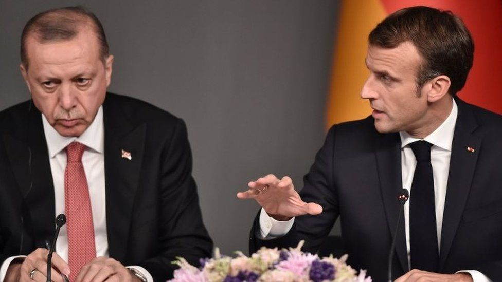 Turkish President Recep Tayyip Erdogan (left) and French President Emmanuel Macron Photo: October 2018