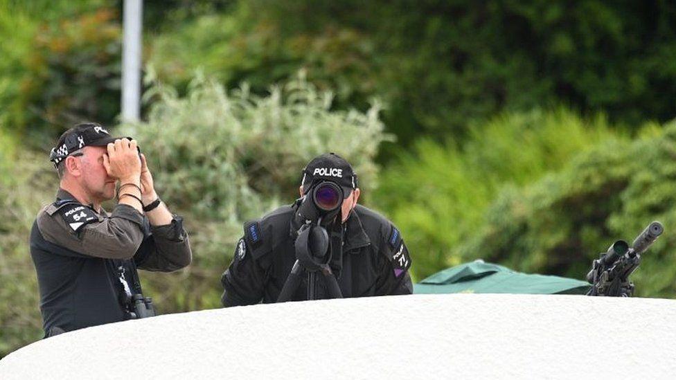 Police near the G7 summit