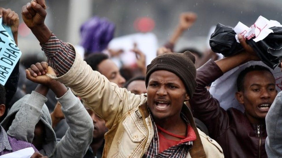 """Protesters chant slogans during a demonstration over what they say is unfair distribution of wealth in the country at Meskel Square in Ethiopia""""s capital Addis Ababa, August 6, 2016."""