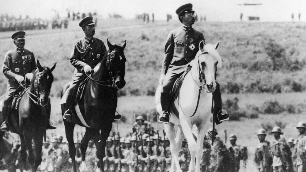 Emperor Hirohito of Japan on a visit to the Military Academy in Zama 10 November, 1939