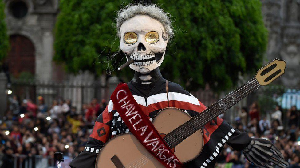 A skeleton depiction of Mexican singer
