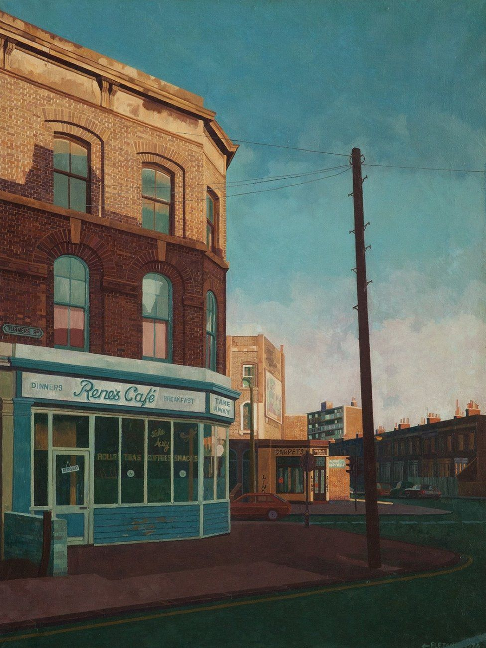 A painting of the front of a cafe and road by Doreen Fletcher