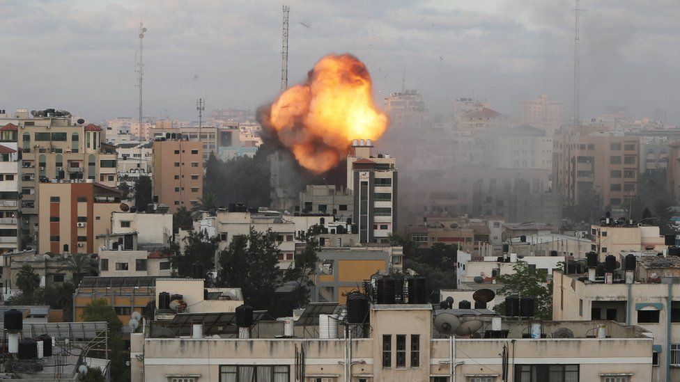 Buildings in Gaza were destroyed in Israeli air strikes early on Tuesday