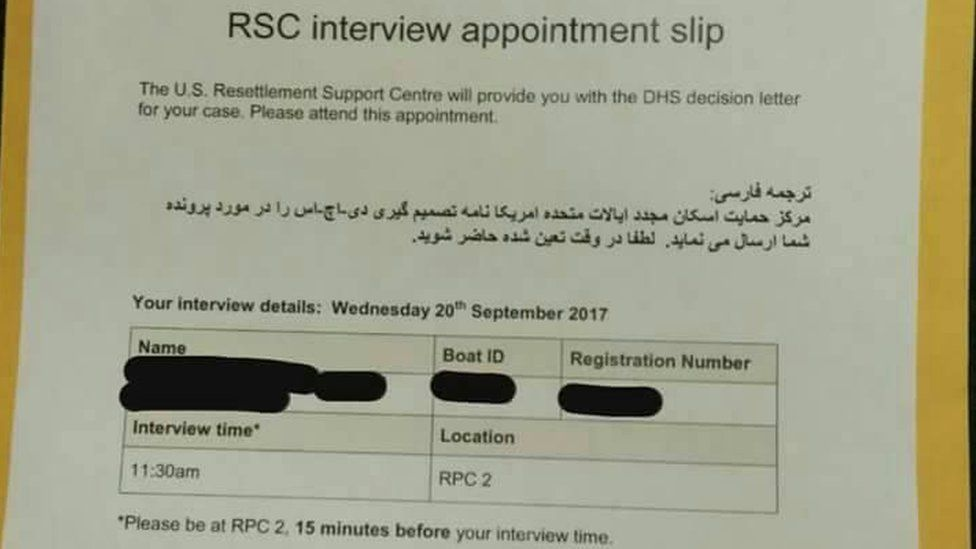 A copy of an interview notice slip provided to a refugee in detention