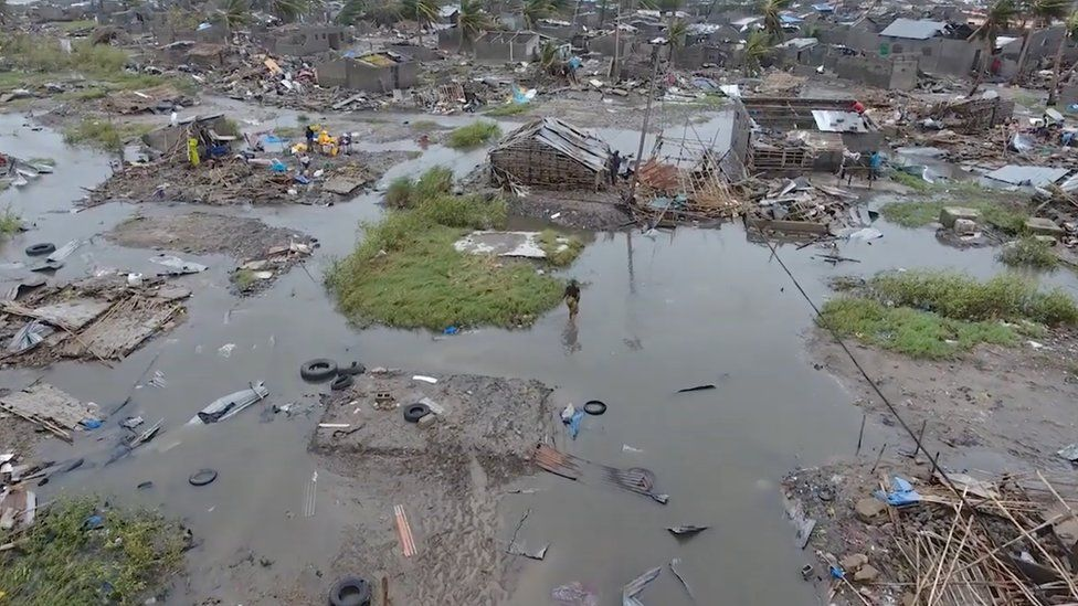 A general view of the damage after a cyclone swept through Beira