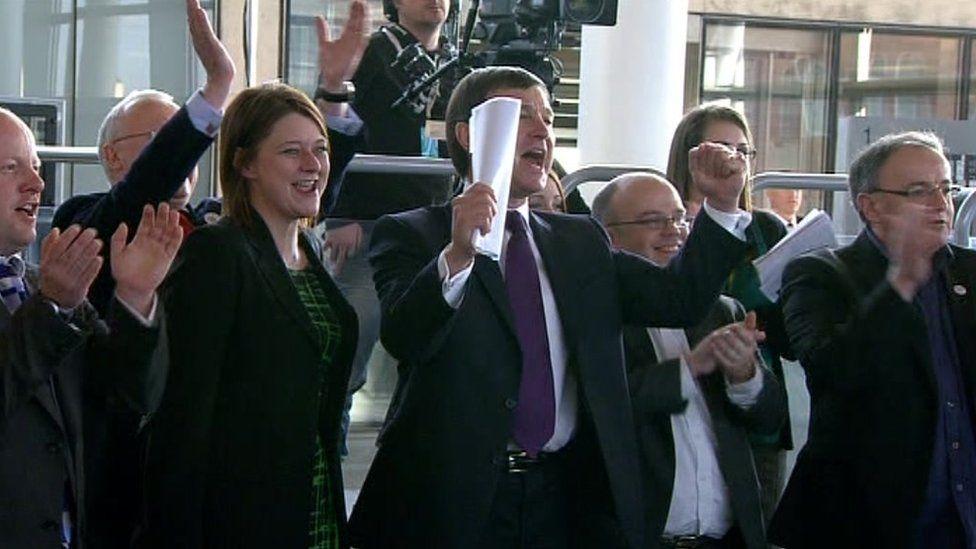 Yes campaigners celebrate winning the 2011 referendum