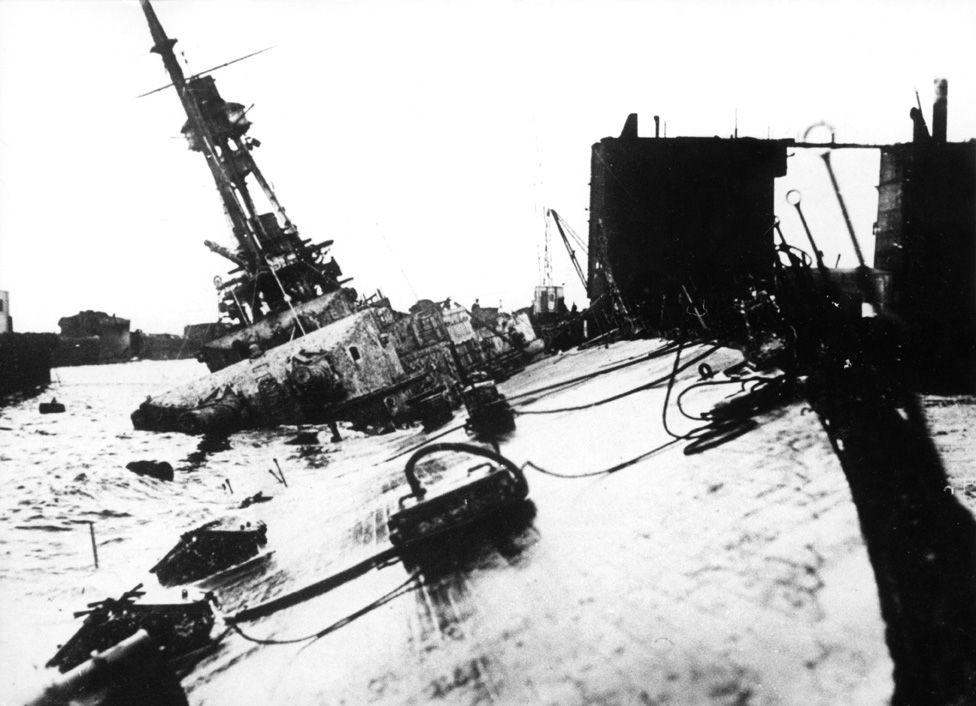 German battleship being scuttled
