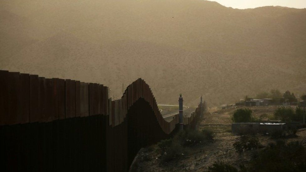 A general view shows a newly built section of the U.S.-Mexico border fence at Sunland Park, U.S.