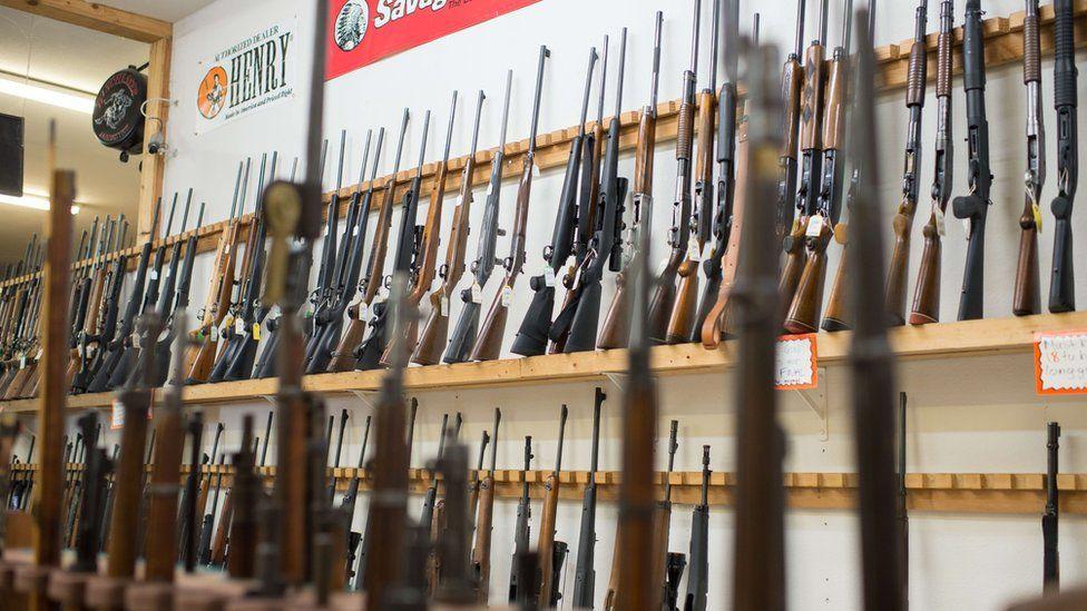 Weapons are on display at Roseburg Gun Shop in Roseburg, Oregon