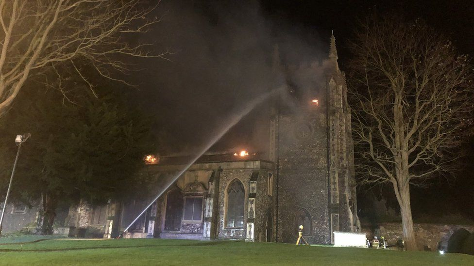 Fire at St John the Baptist Church, Royston