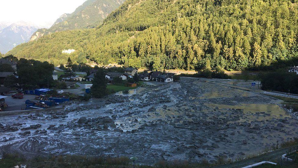 Landslide in the Swiss village of Bondo on August 23, 2017