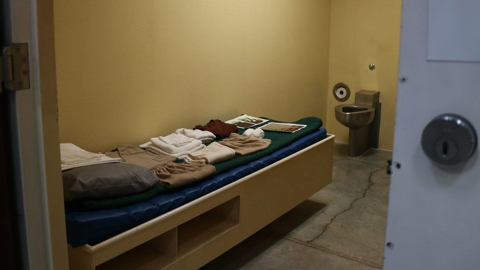 Inside a cell in Camp Six at Guantanamo Bay