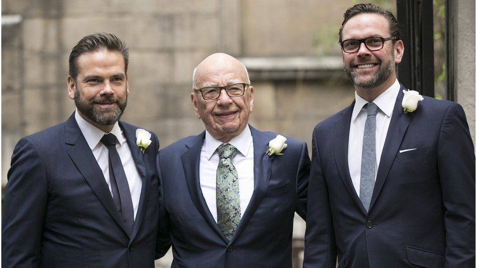 Lachlan, Rupert and James Murdoch outside St Bride's Church in London (March 2016)